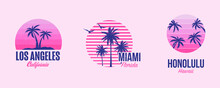 Tshirt Template Graphics With Palms And Sunset, Good Vibes In Miami, Los Angeles And Honolulu ,Summer Designs