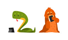 Funny Animals Using Modern Gadgets Set, Snake Working With Tablet, Walrus Making Selfie Cartoon Vector Illustration