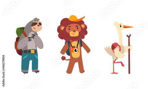 Fototapeta premium Funny Animals Traveling on Vacation Set, Amusing Sloth, Lion, Stork Having Summer Trip Cartoon Vector Illustration