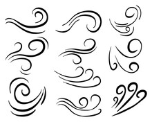 Hand Drawn Set Wind Doodle Blow, Gust Design Isolated On White Background.  Illustration Vector Handrawn Style