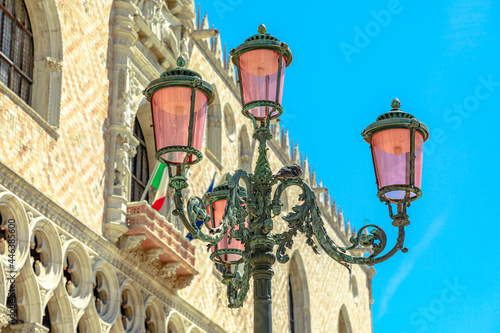 Fotografering Details of Venetian famous street lamps of the San Marco square in Venice city downtown