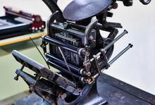 Vintage Printing Press In Workshop