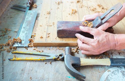 Fototapeta Working activities of elderly people