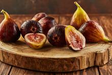 Still Life Of Figs On Wood