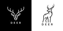 Deer Logo Line Icons. Wild Reindeer Outdoor Brand Label. Elk Antlers Sign. Wildlife Stag Symbol. Vector Illustration.