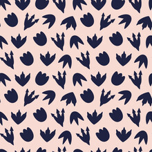 Vector Illustration Of Seamless Pattern With Dinosaur..Dark Blue Dinosaur Footprint On A Peach Background. For Printing On Fabric And Boomeg. To Decorate The Nursery. Hand Drawn
