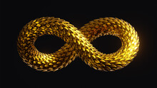 3d Render, Abstract Twisted Infinity Symbol With Shiny Metallic Dragon Scales Texture, Golden Snake, Clip Art Isolated On Black Background