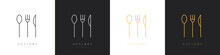 Set Of Cutlery Logos In Linear Style. Spoon, Fork And Knife. Vector Illustration