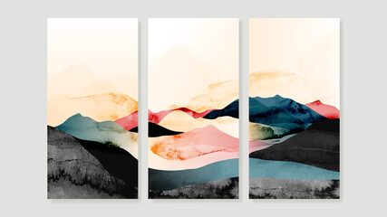 Mountain Canvas Art Print.  Triptych wall art vector. China Poster, Watercolor Landscape, Floating Mountains design for  Home Decor, Office Art and wallpaper.