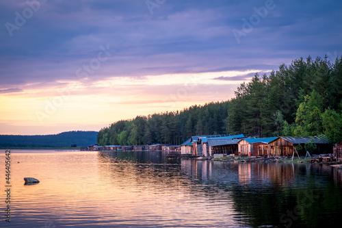 Fototapeta Evening panorama on Karelian lake Kovdozero