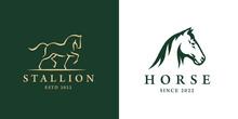 Elegant Horse Logo Icons. Royal Stallion Symbol Design. Equine Stables Sign. Equestrian Brand Emblems. Vector Illustration.