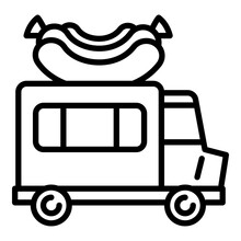 American Hot Dog Truck Icon. Outline American Hot Dog Truck Vector Icon For Web Design Isolated On White Background