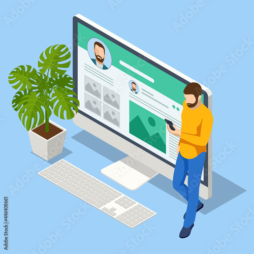 Fotografie, Obraz Isometric creative blogging, commercial blog posting, copywriting, journalist, social network
