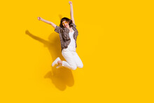 Full Length Body Size View Of Attractive Best Lucky Cheerful Girl Jumping Celebrating Attainment Isolated Bright Yellow Color Background
