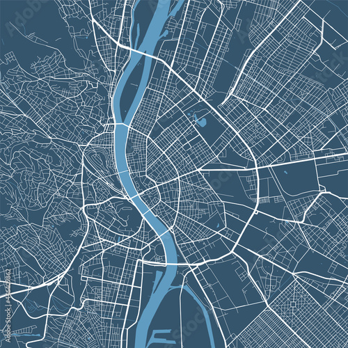 Detailed map poster of Budapest city, linear print map Fototapete