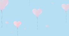 Composition Of Pink Heart Balloons On Blue Background