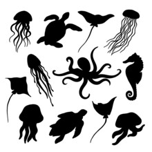 Summer Time Graphic. Underwater Set Of Silhouettes For Design. Flat Illustration With Isolated Marine Objects. Black Shapes On A White Background: Jellyfish, Stingrays, Turtles, Octopus, Seahorse
