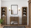 Leinwandbild Motiv White cozy bathroom interior, farmhouse style, 3d render