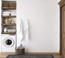 White Cozy Bathroom Interior, Farmhouse Style, 3d Render
