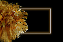 Gold Painted Tropical Date Palm And Monstera Leaves Border Frame On Black Abstract Background Isolated. Room For Text. Beauty Fashion Banner Template.