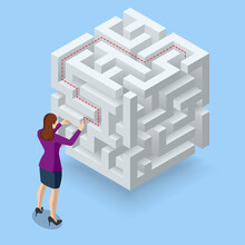Isometric Maze, Labyrinth Solution. Business Team Looking For Solution In A Maze. Challenge. Puzzle Riddle Logic Game Isometric Concept. The Path To The Goal Or Success, Teamwork And Business Strategy