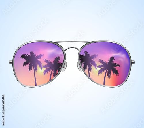 Canvastavla Aviator Sunglasses with Palms Reflection Vector illustration Background