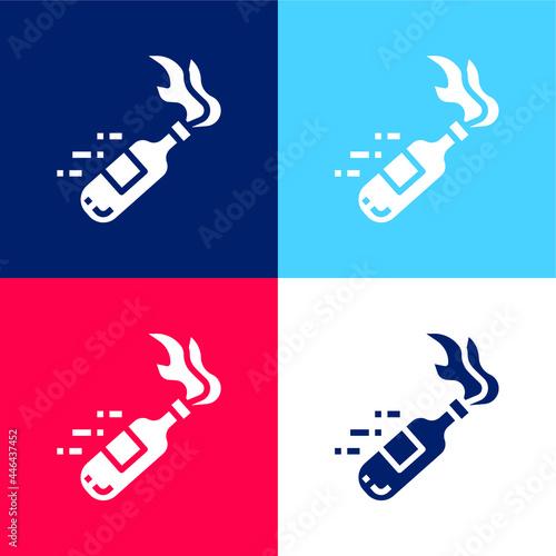 Obraz na plátně Bottle blue and red four color minimal icon set