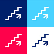 Ascending Stairs Signal Blue And Red Four Color Minimal Icon Set