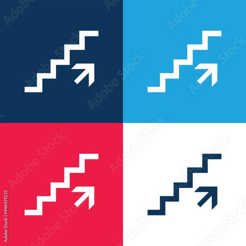 Murais de parede Ascending Stairs Signal blue and red four color minimal icon set
