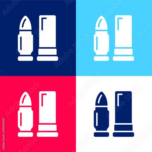 Billede på lærred Ammunition blue and red four color minimal icon set