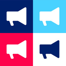 Audio Amplification Speaker Tool Silhouette Blue And Red Four Color Minimal Icon Set