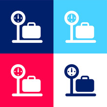 Airport Check In Sign Blue And Red Four Color Minimal Icon Set
