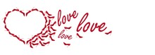 Love Shoes. Advertising Banner Made Of Red Shoes. Heart Of The Shoe. A Heart Made Of Red Shoes And The Word Love Are Isolated On A White Background.