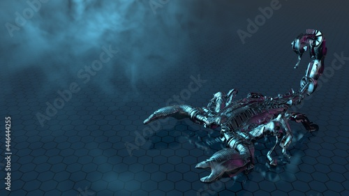 Leinwand Poster Chrome scorpion robot on hexagonal ground with fog and reflections