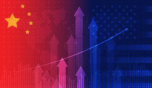Trade War Economy USA America And China Flag Candlestick Graph Stock Market Exchange And Graph Chart Business Finance Money Investment On Display Board. Vector Design