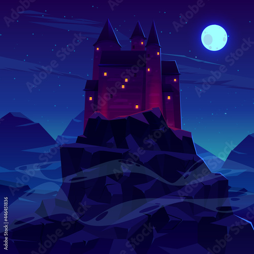 Fotografiet Ancient castle or fortress in mountains vector