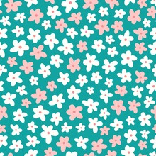 Tiny Cute Flowers, Seamless Vector Pattern With Pink And White Flowers On Green.
