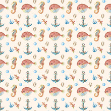 Collection Of Watercolor  Seamless Pattern - Underwater World. Seashells, Starfish, Sea Horse, Anchor On A Beige Background