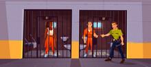 Prisoners In Prison Jail And Policeman. Police
