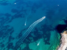 Aerial View Of The Sea With Boats In Corfu