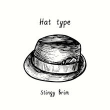 Hat Type, Stingy Brim. Ink Black And White Drawing Outline Illustration