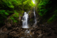 Waterfall Deep In The Forest. The Beauty Of Green Plants In Summer Time.