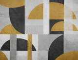 Contemporary modern photo wallpaper with geometric abstraction on concrete background. Design for wallpaper, wall decor, print, photo wallpaper, mural.  - 446466098