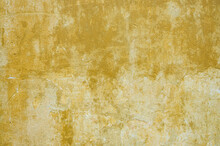 Old Of Dilapidated Wall For Texture Or Background, Rough Aged Surface, Remnants Of Peeling Dirty-yellow Plaster, Multi-colored Grunge-style Crustr, Strong Uneven Texture, Above Close-up Wallpaper