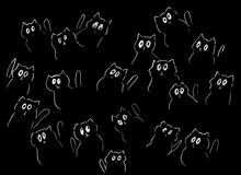 Black Background With Painted White Cats With Big Eyes