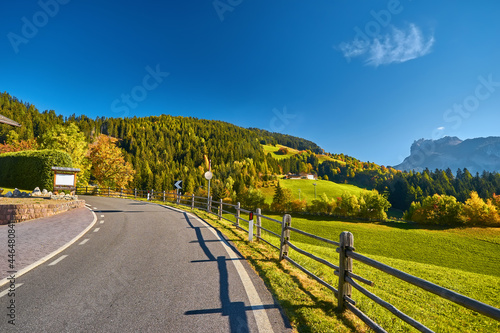 Wallpaper Mural Scenic mountain road in alpine valley, Dolomites Mountains, Italy