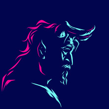 Devil Demon Man Angry Face Logo. Colorful Design With Dark Background. Abstract Vector Illustration.