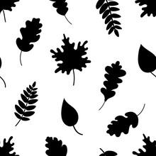 Seamless Pattern Of Black Leaves. Vector Illustration