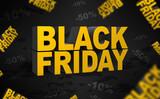 black friday napis, 3D, Promocja obniżenie cen