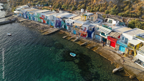 Fotografie, Obraz Aerial drone photo of picturesque seaside village of Klima and traditional fishe